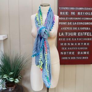 Accessories - NEW blue scarf fluorescent pompom fringe